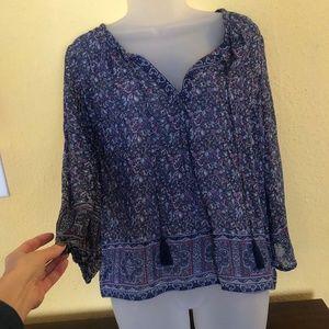 Blue print silk boho top